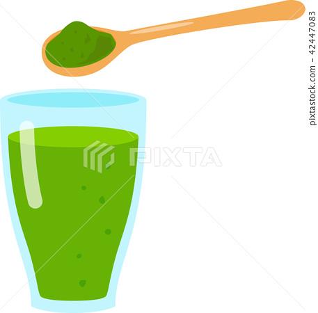 插图素材: グラス入りの青汁
