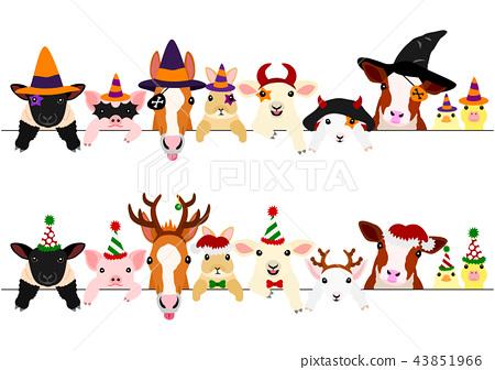 图库插图: 可爱的动物孩子边框设置万圣节圣诞