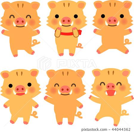 图库插图: 野猪 卡通人物 可爱