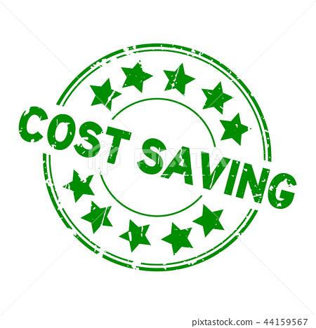 图库插图: grunge green cost saving word round rubber seal