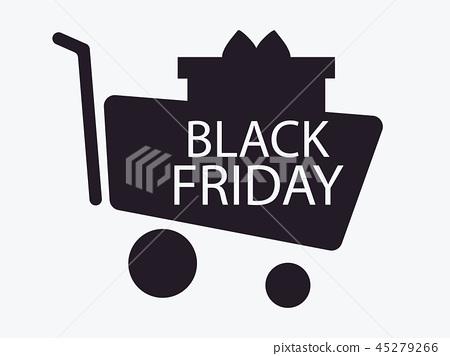 插图素材: black friday. trolley and gift box. shopping cart