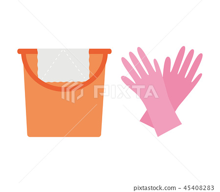 插图素材: 保洁工具 清洁工具 胶皮手套