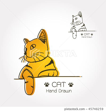 插图素材: cat logo line art vector illustration