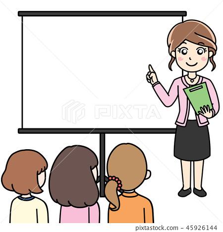 插图素材: 女性办公室工作人员ol会议,指导,解释,演示文稿
