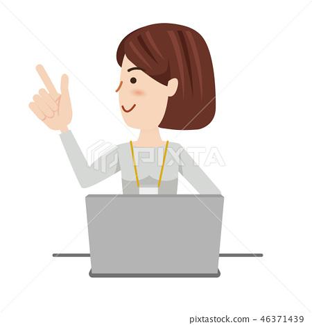插图素材: 女商人休闲计算机