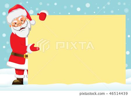 插图素材: santa claus holding banner