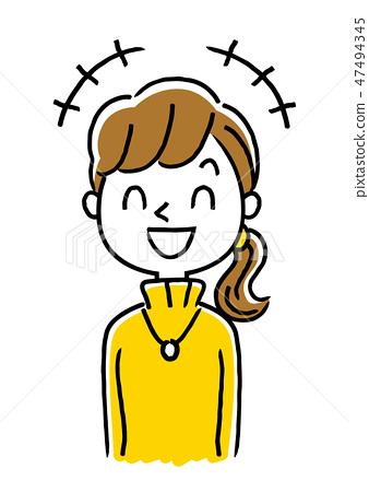 插图素材: 高领毛衣的一个少妇