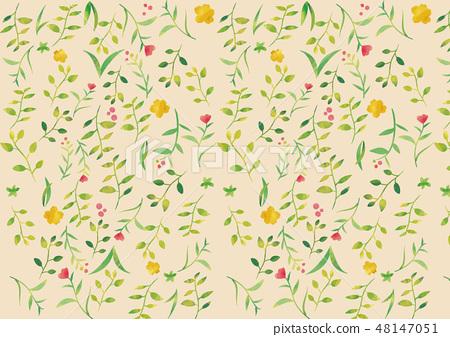 插图素材: 粉彩风格复古草花图案(背景米色)