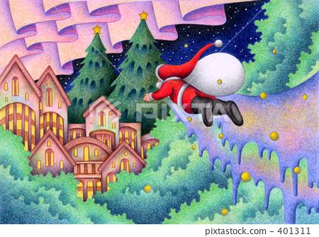 ซานต้า,คริสต์มาส,ดินสอสี 401311