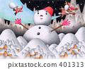 雪ダルマとサンタクロース 401313