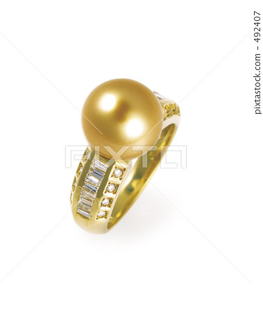 Golden pearl ring 492407