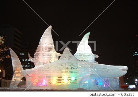 snow festival, an ice sculpture, whale 605335
