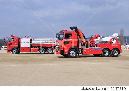 Stock Photo: firetruck, fire-engine, sunny day