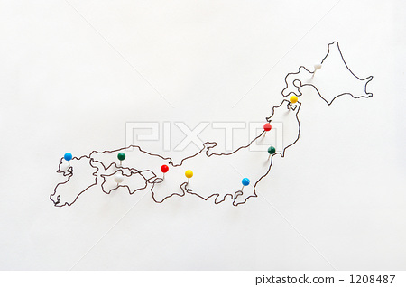 Japan map marked with pins - Stock Photo [1208487] - PIXTA