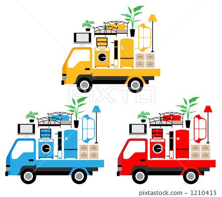 Stock Illustration: truck, furnitures, furniture
