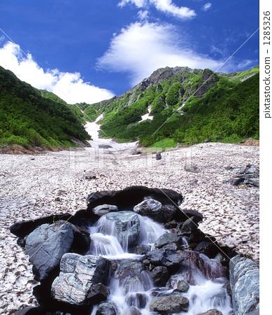 南阿爾卑斯山北部山脈和融化的雪Okabashawa 1285326