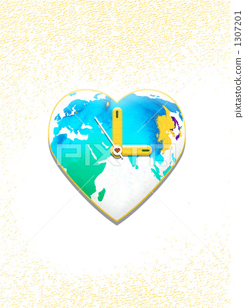 Heart globe World map clock watch mono image 3D illustration 1307201