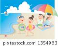 ว่ายน้ำบนชายหาดกับครอบครัว 1354963