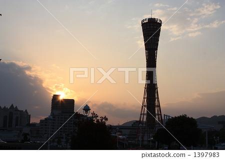 고베 포트타워, 코베 포트타워, 노을 1397983