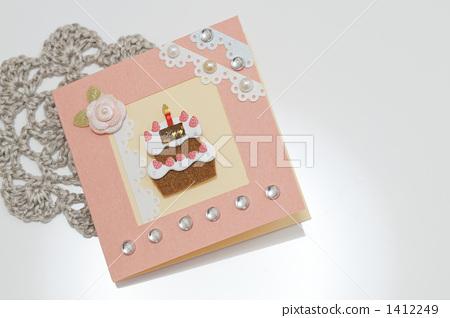 핑크 생일 카드 1412249