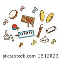 다양한 음악 교육 악기 1612823