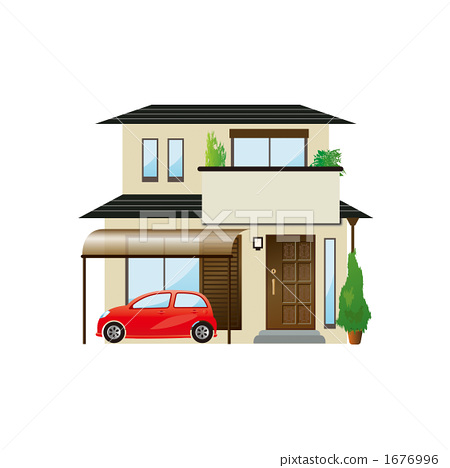 Illustration of a house with carport 1676996