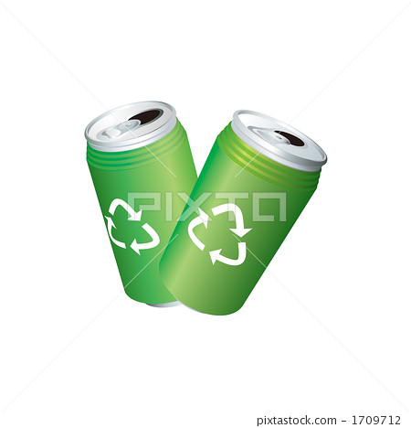 An illustration of an empty can with a recycle mark 1709712