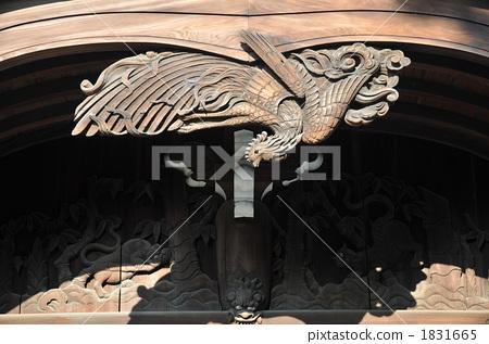 Jodo-shu Honenji Temple, a sculpture of the phoenix of Sanbutsudo, Takamatsu City, Kagawa Prefecture 1831665