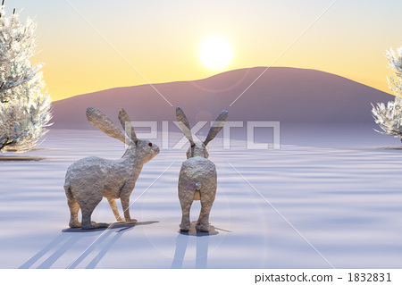 Dawn of rabbit and rabbit year 1832831