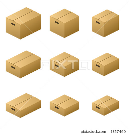 Cardboard box Normal handle Type Size 9 Brown - Stock Illustration
