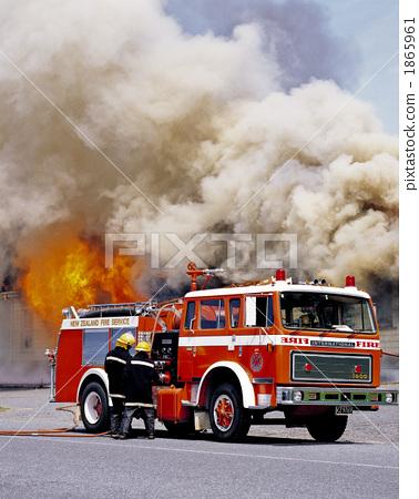 Stock Photo: firetruck, scene of fire, fire-engine