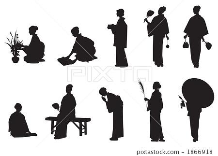 日本衣服女性剪影 1866918