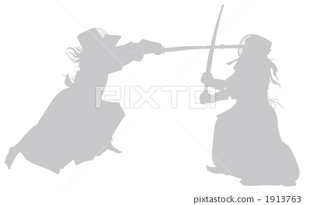 Kendo game match silhouette Gray 1913763