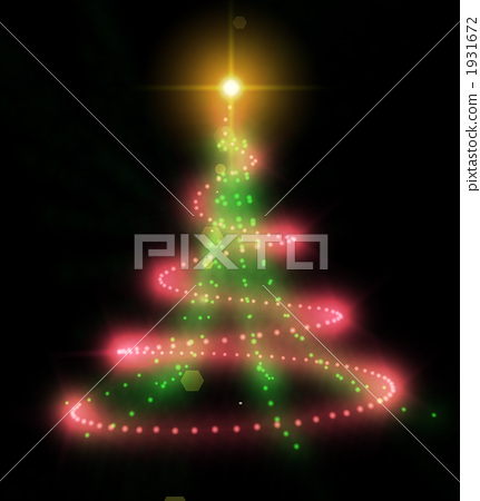 Fantastic Christmas Tree shining brightly and red light 1931672