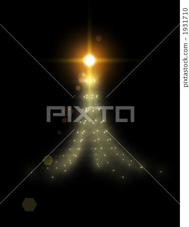 반짝 반짝 빛나는 황금빛 환상적인 크리스마스 트리 1931710