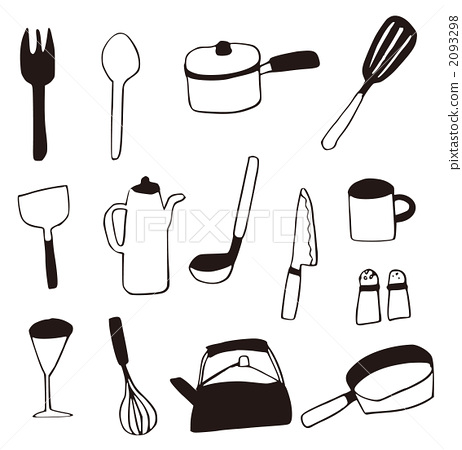 Kitchen Supplies Cookware Line Drawing Stock