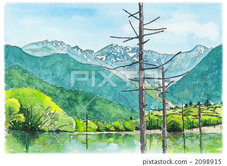 Watercolor picture Kamikochi 2098915