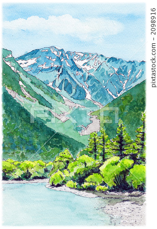 landscape painting, watercolor, kamikochi 2098916