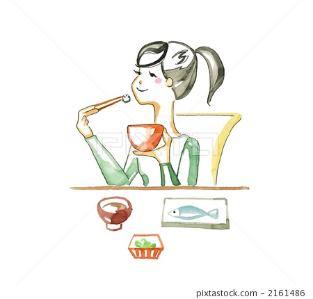 A woman eating Japanese food 2161486