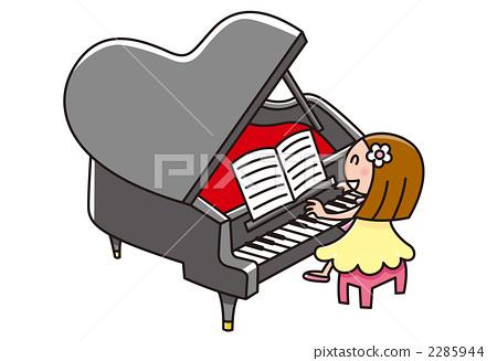 피아노를 연주하는 소녀 2285944