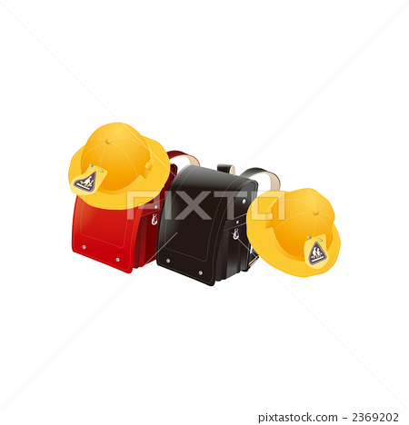 Illustration of a school bag and a yellow hat 2369202