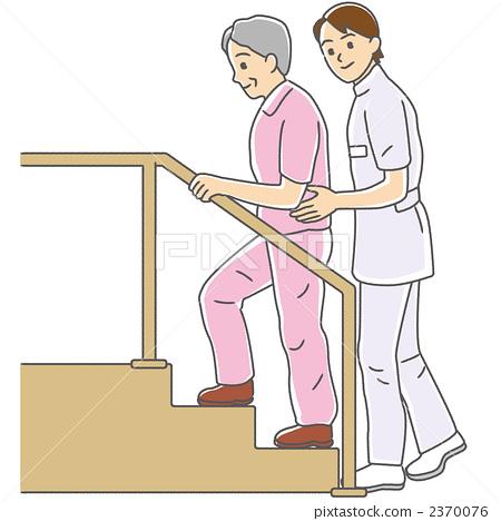 Rehabilitation Elderly people who train walking 2370076