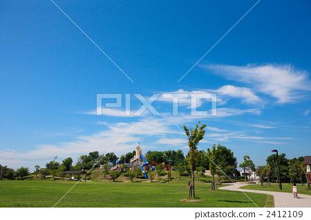 公園 夏季天空 街景 2412109