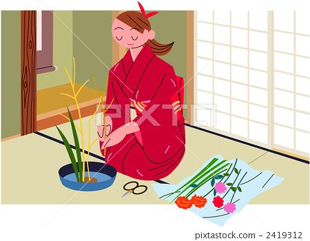 Ikebana with background B 2419312