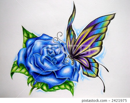 Blue Roses and Butterfly Handwriting 2421975
