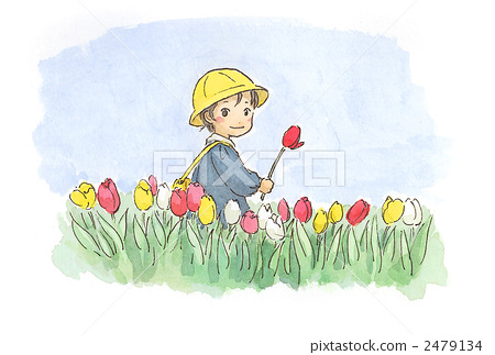 Children in a tulip field 2479134