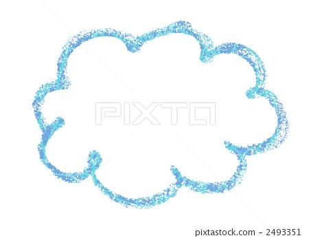 用蜡笔绘制的云彩。 2493351