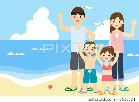 가족 해수욕 2513571