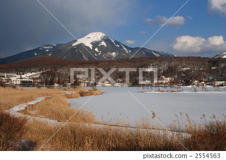 호수, 산, 적설 2554563