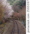 Railroad track and cherry blossoms in Koro Arashiyama 2565097